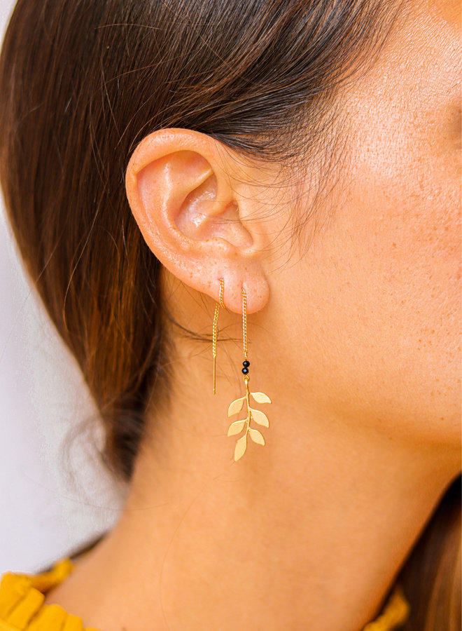 Acacia leaf earrings with faceted onyx