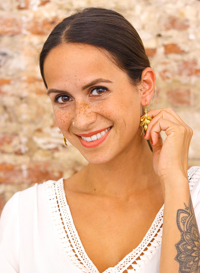 Hawthorn leaf earrings