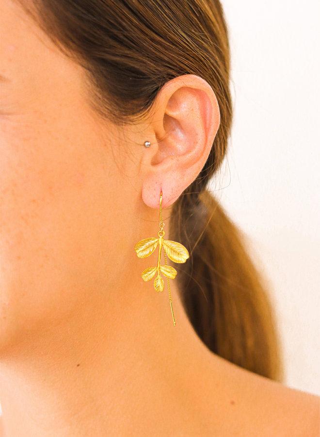 Asymmetrical Hawthorn leaf earrings