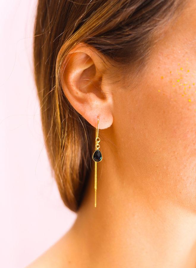 Onyx Cabochon drop earring