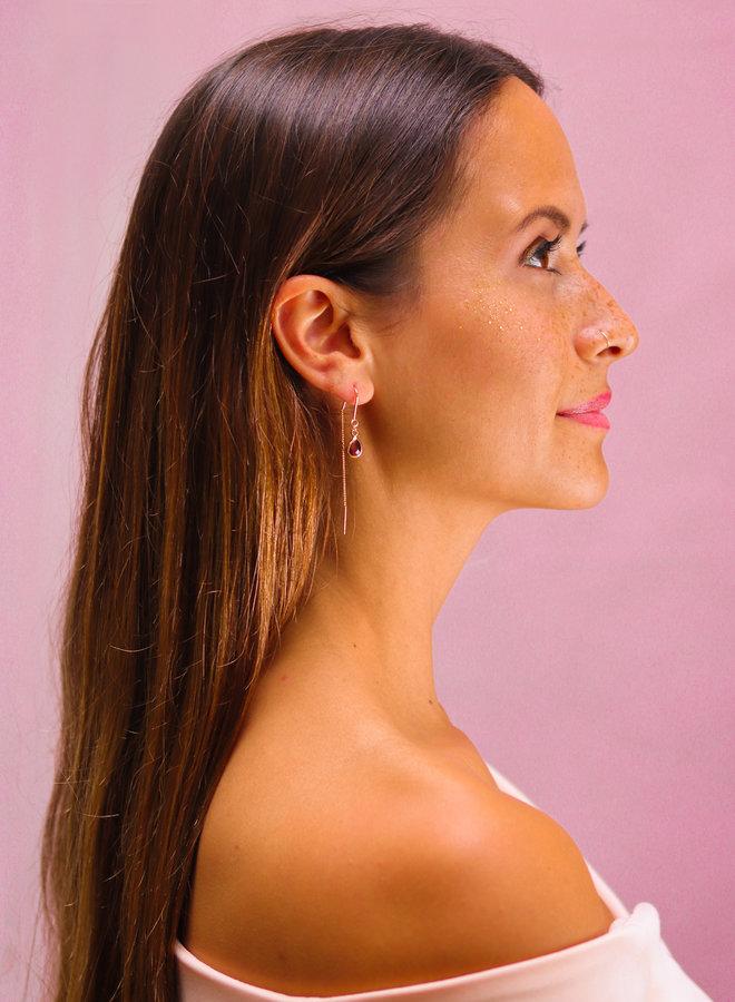 Rhodolite Cabochon drop earrings