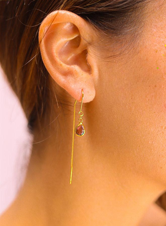 Burgundy rhodolite cabochon drop earrings