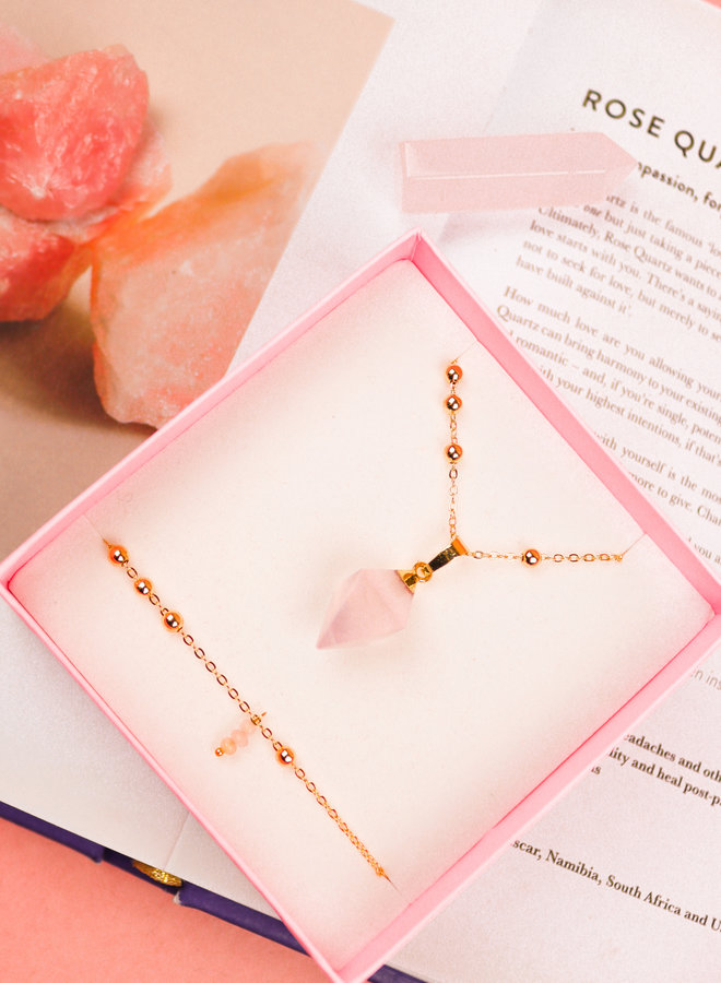 Necklace & Bracelet Set Rose Quartz - Marie
