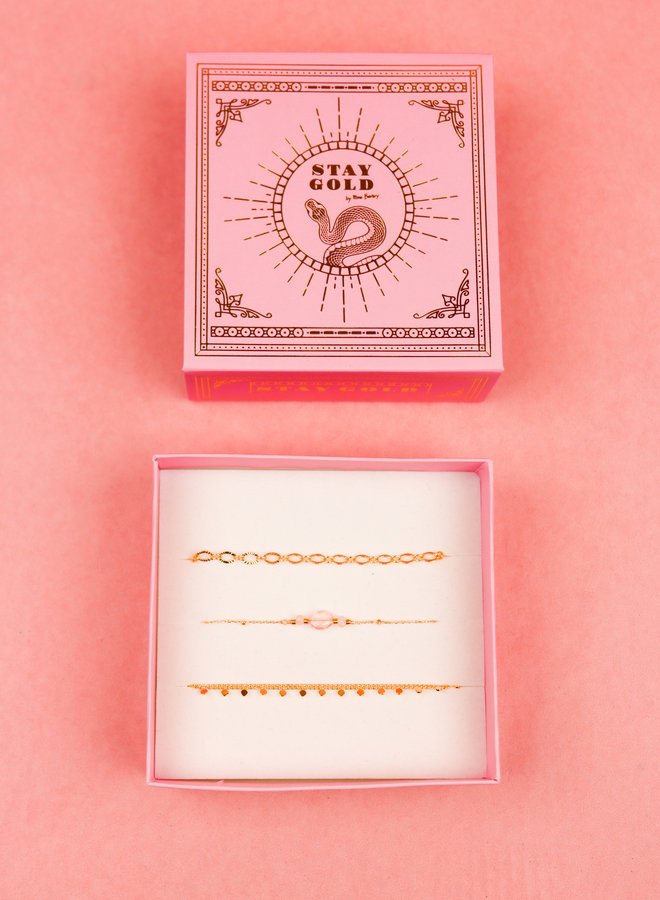 Bracelet Giftbox Set - Pink Quartz