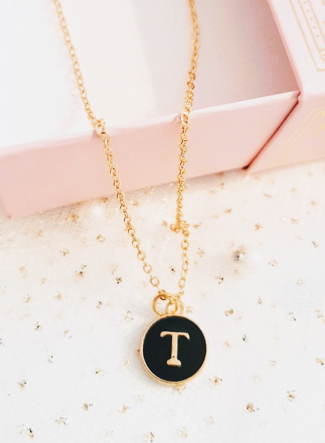 Initial Necklace  letter T
