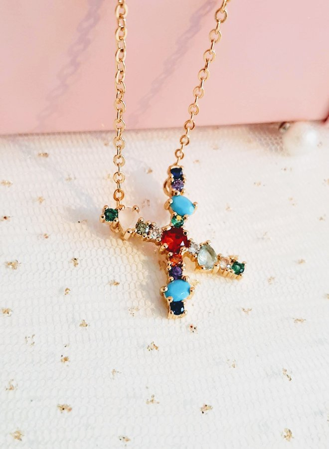 Zirkonia Initial Necklace  - letter X