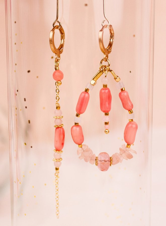 Asymmetrical pink coral & rose quartz earrings