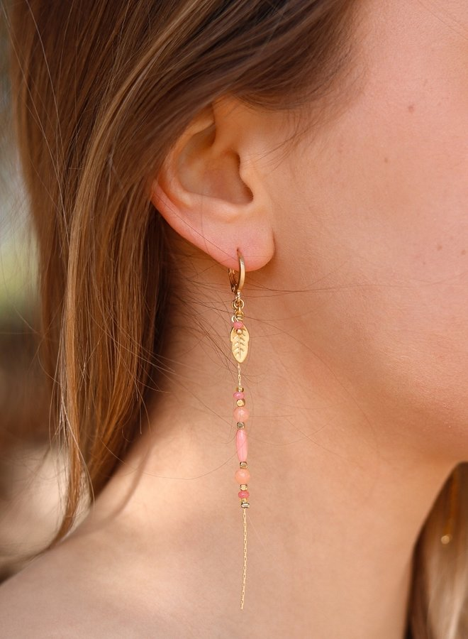 Dangling feather pink coral  & rose quartz earrings  - Copy