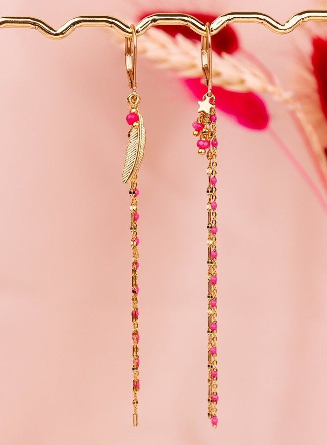 Chrystalline - matching pink feather tiny star earrings