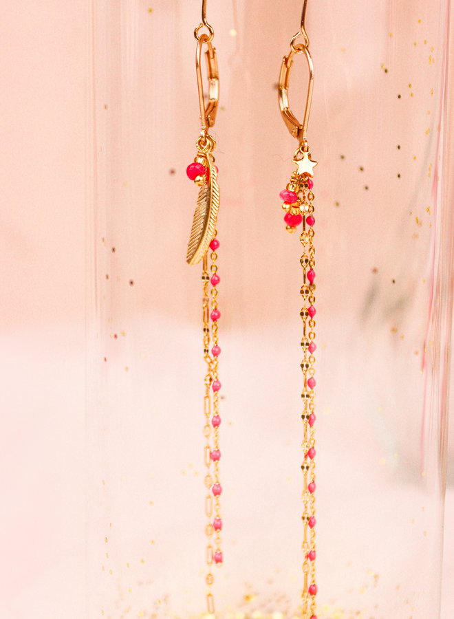 Nina 2021-10 - Feather and star Pink earrings