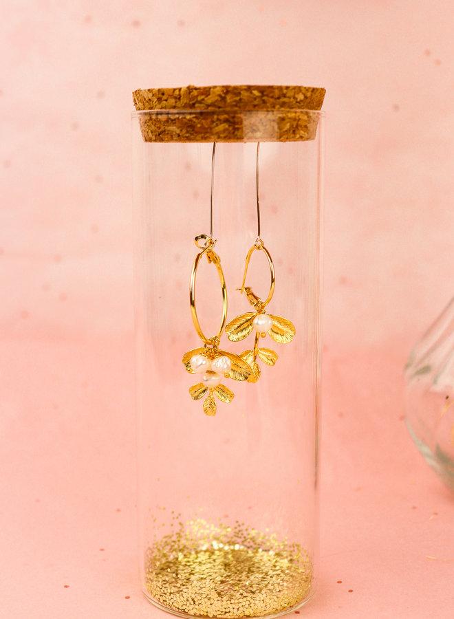 Izzy - Leaf sweet water peals  hoop earrings