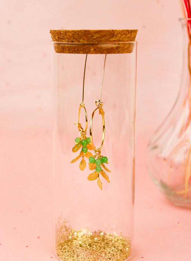 Izzy - Leaf prehnite hoop earrings