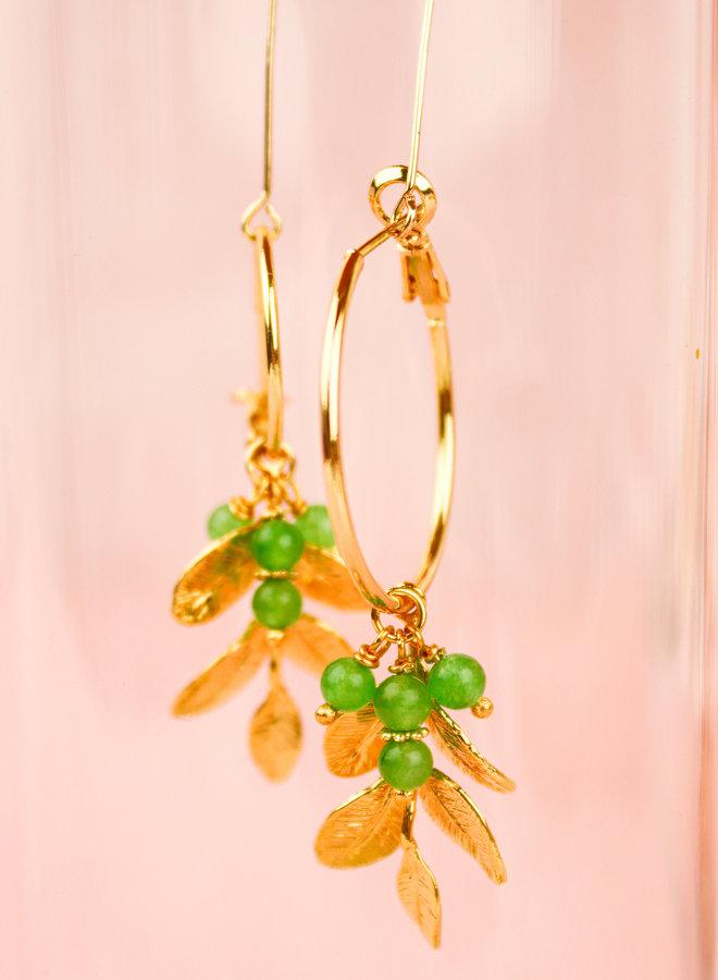 Izzy - Leaf prehnite earrings