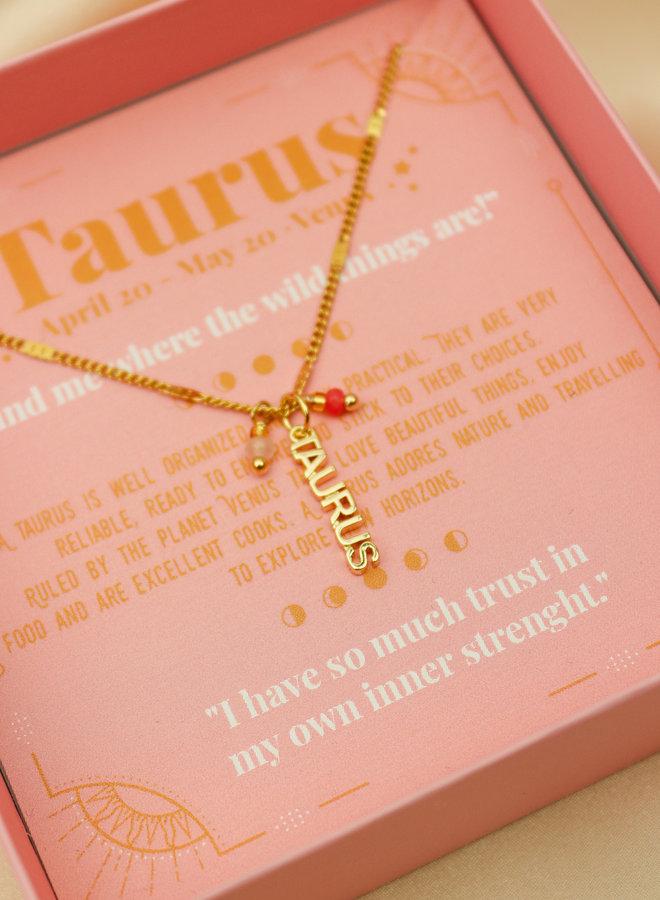 Taurus Word Zodiac Necklace