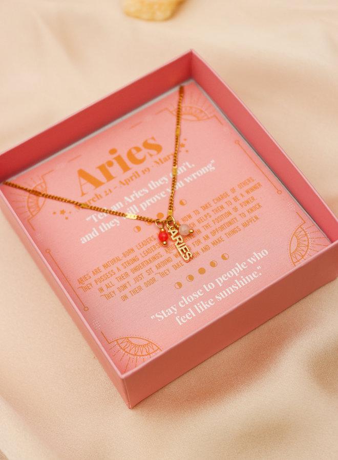 Aries Word Zodiac Necklace