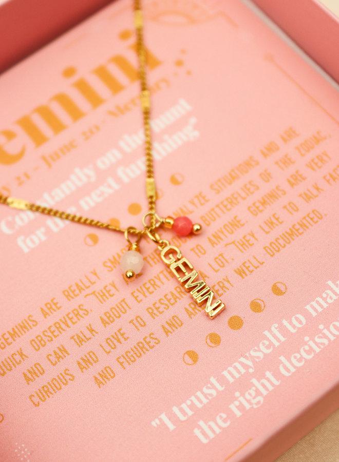Gemini Word Zodiac Necklace