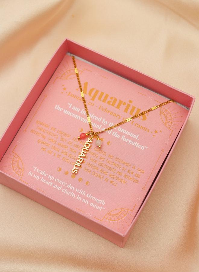 Aquarius Word Zodiac Necklace