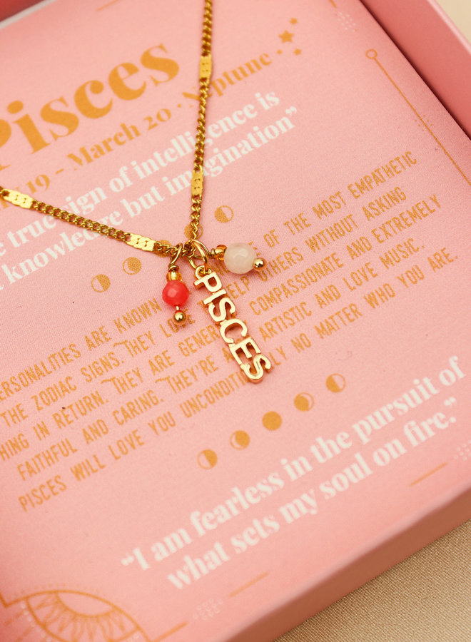 Pisces Word Zodiac Necklace
