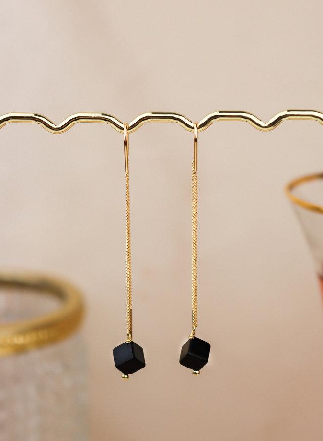Black onyx cube long threader
