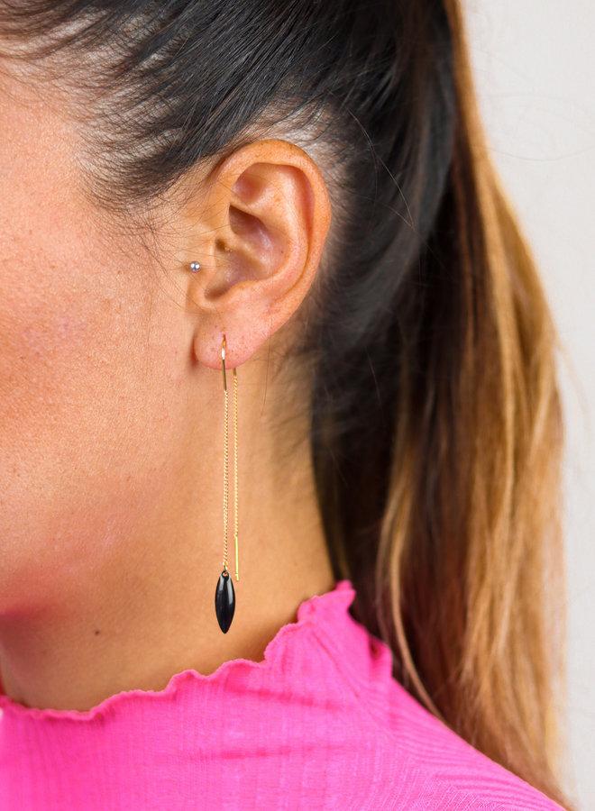 Long black enamel threader earrings
