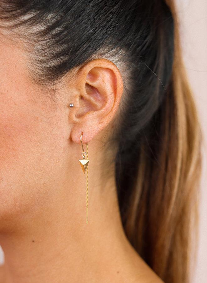 Golden Pyramid threader earrings