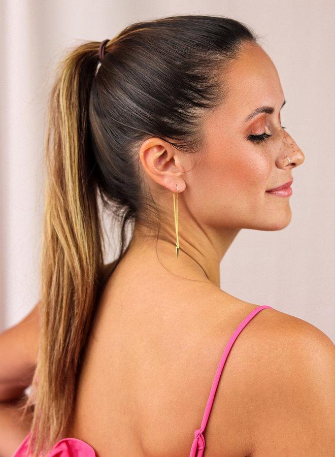 Long spike earring asymmetrical
