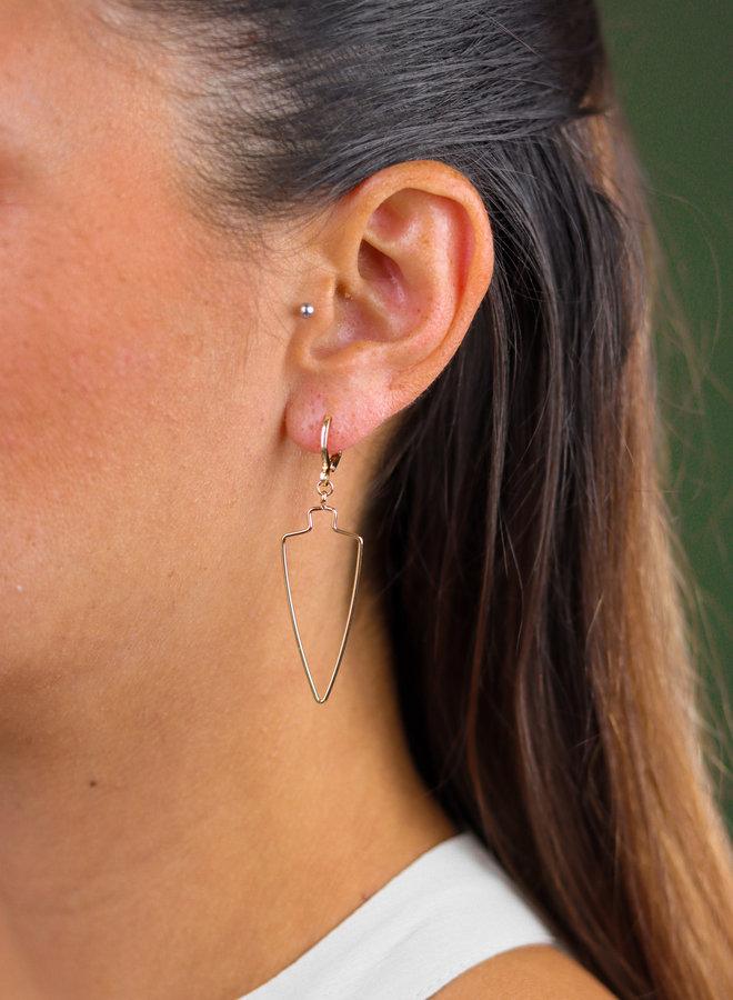 Gold plated spade earrings
