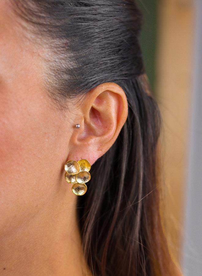 Golden modern grapes earrings