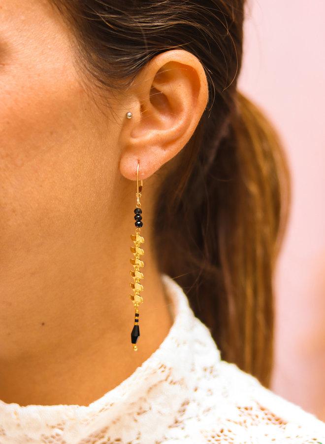 Fishbone onyx earrings
