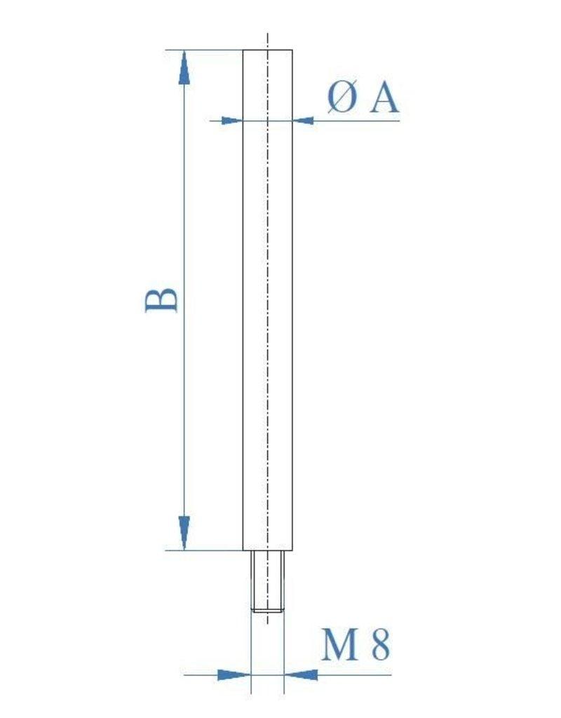I AM Design Stift geslepen V2A dia 12mm - uitwendige draad M8x15mm