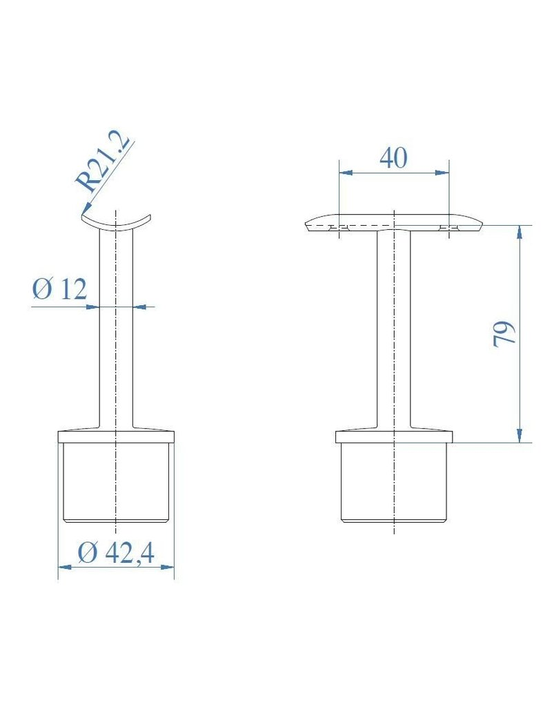 Triebenbacher Leuningdrager V2A  42.4x2mm