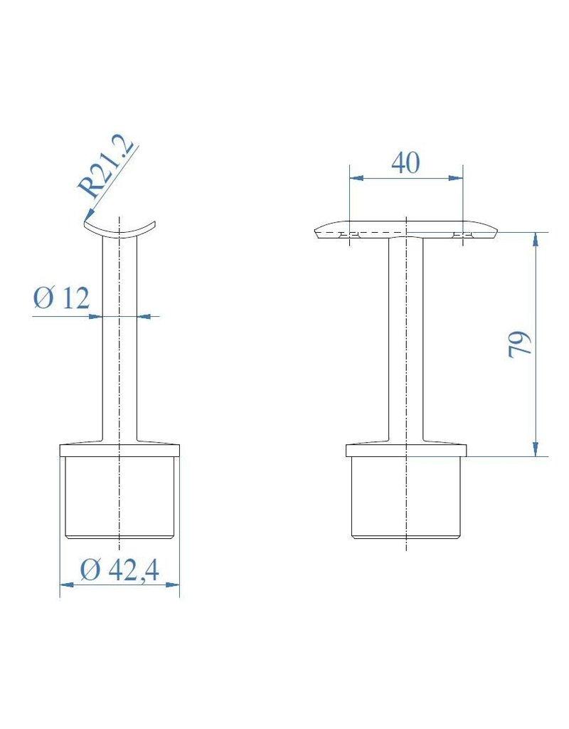 Triebenbacher Support main courante V2A  42.4x2mm