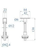 Triebenbacher Leuningdrager V4A (geschikt voor LEDsysteem met buis 42.4x1.5mm)