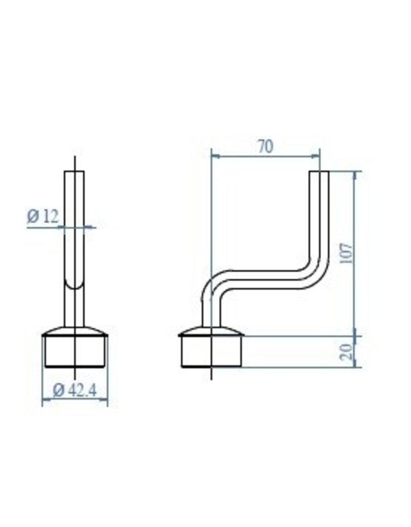 Triebenbacher Leuningdrager gebogen V2A voor ronde buis 42.4x2mm