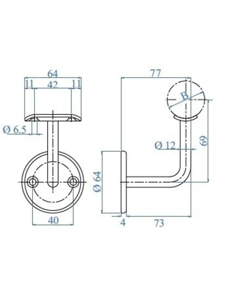 Triebenbacher Leuningdrager met montageschelp V2A - verzonken boringen