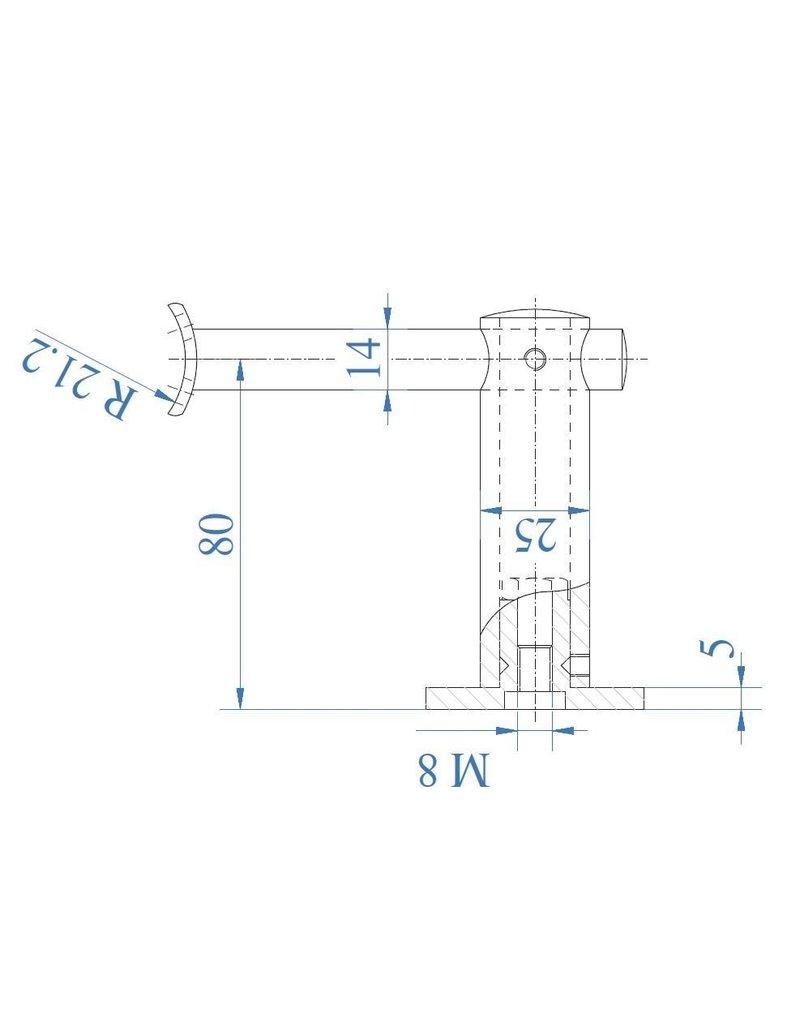 Triebenbacher Leuningdrager geslepen met schelp V2A voor ronde buis 42.4x2mm