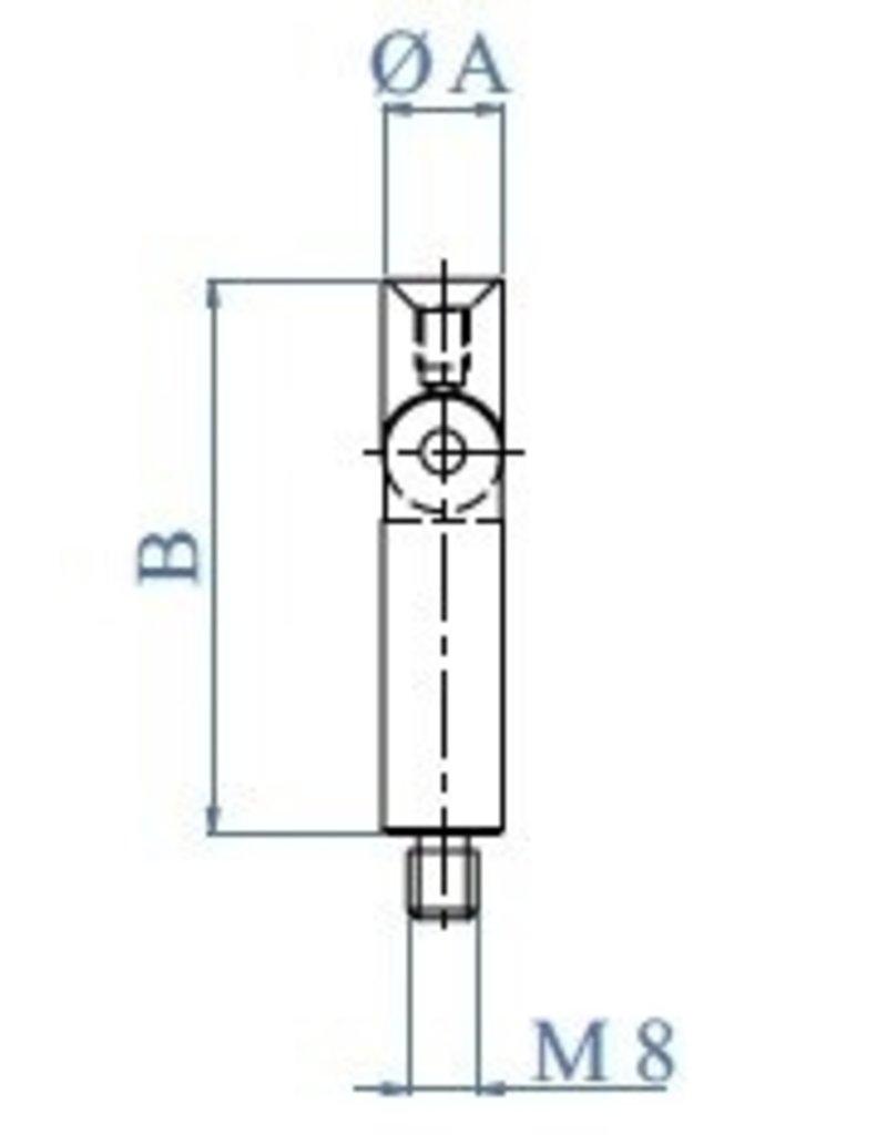 Triebenbacher Stift regelbaar dia 12mm V2A met inwendige draad M6 en uitwendige draad M8x10mm
