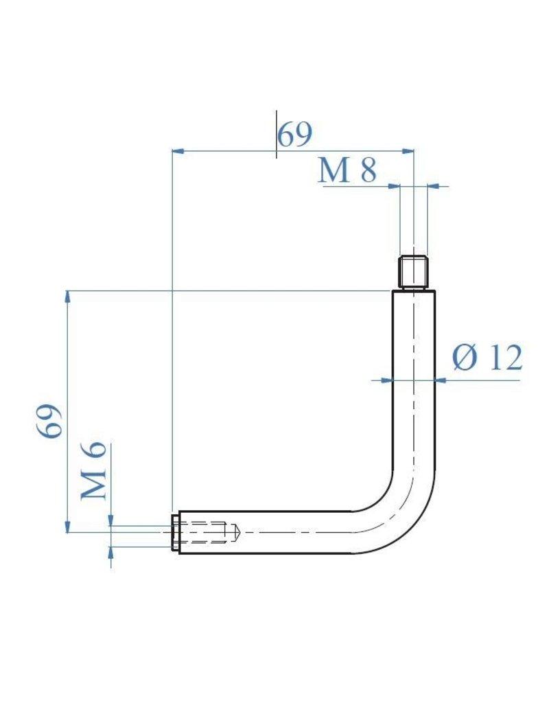 Triebenbacher Stift gebogen dia 12mm V2A met buitendraad M8 en binnendraad M6