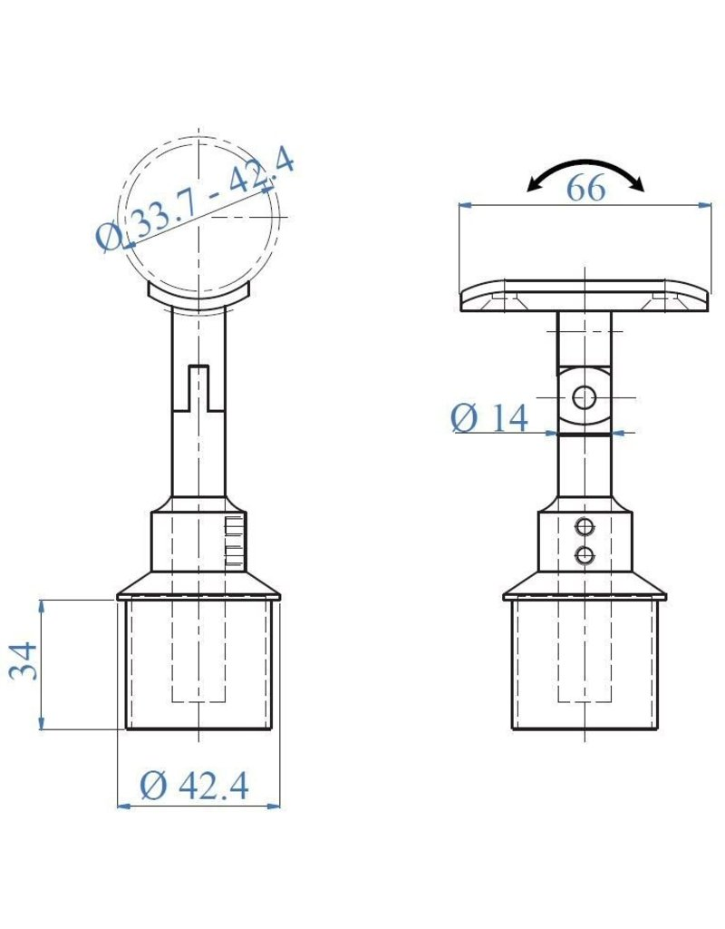 Triebenbacher Leuningdrager V4A variabel met schelp voor ronde buis 42.4mm