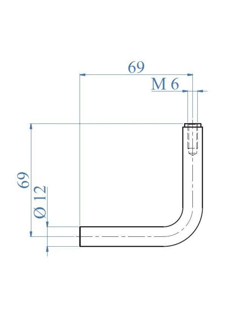 Triebenbacher Stift gebogen dia 12mm V2A met inwendige draad M6
