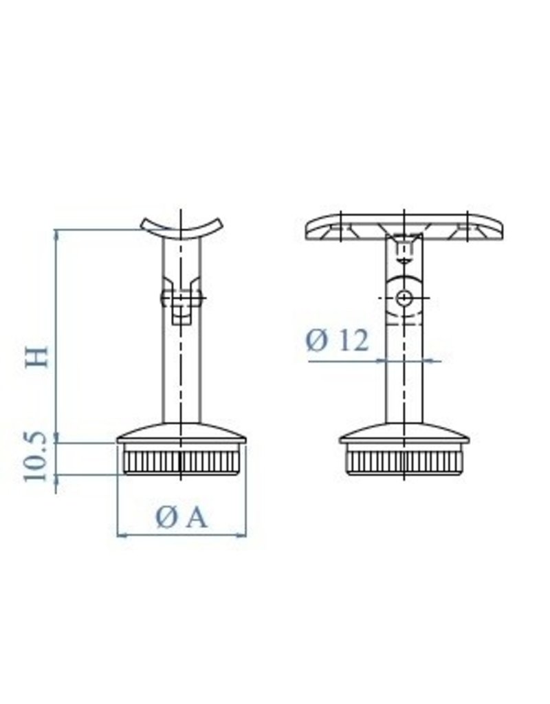Triebenbacher Leuningdrager V2A variabel met schelp  voor ronde buis 42.4x2mm
