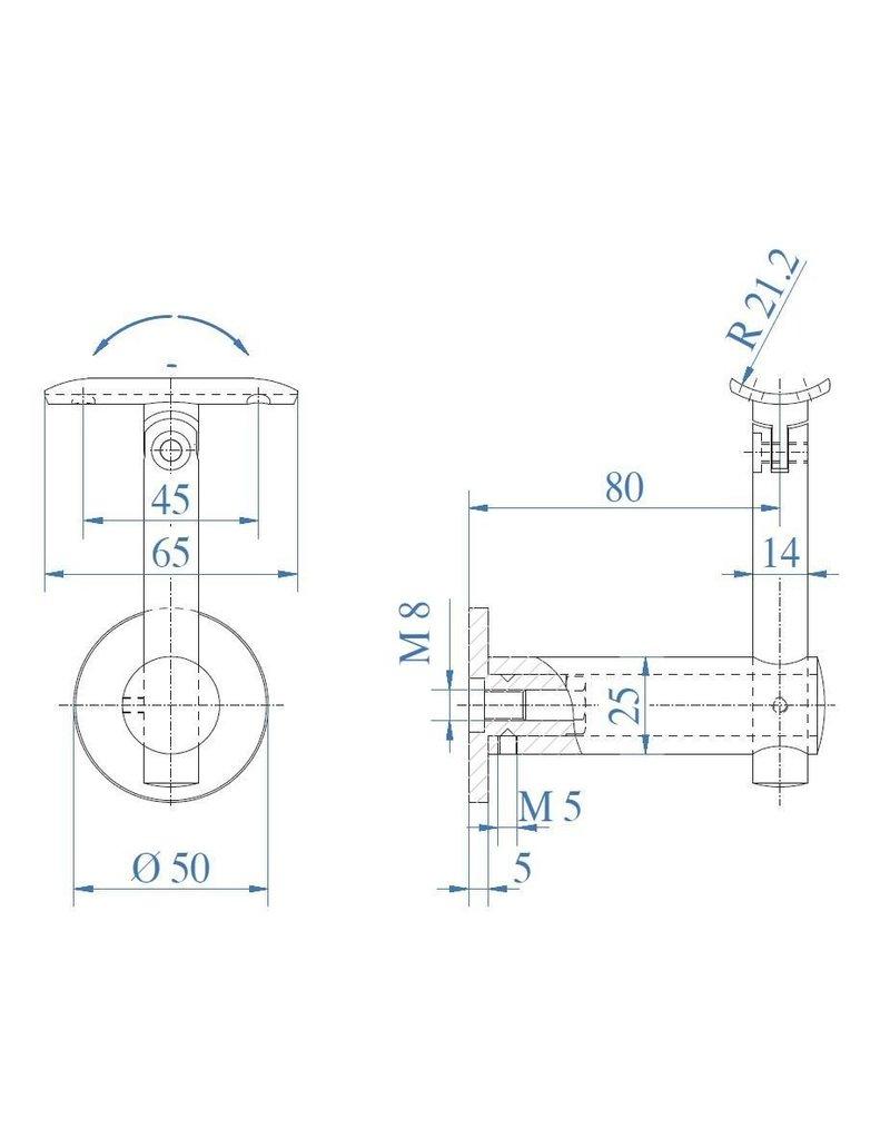 Triebenbacher Leuningdrager V2A variabel met schelp  voor ronde buis 42.4mm