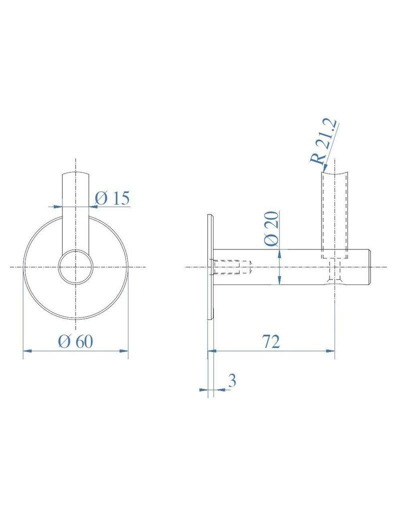 Triebenbacher Leuningdrager 3 stukken V2A met uitwendige draad M8