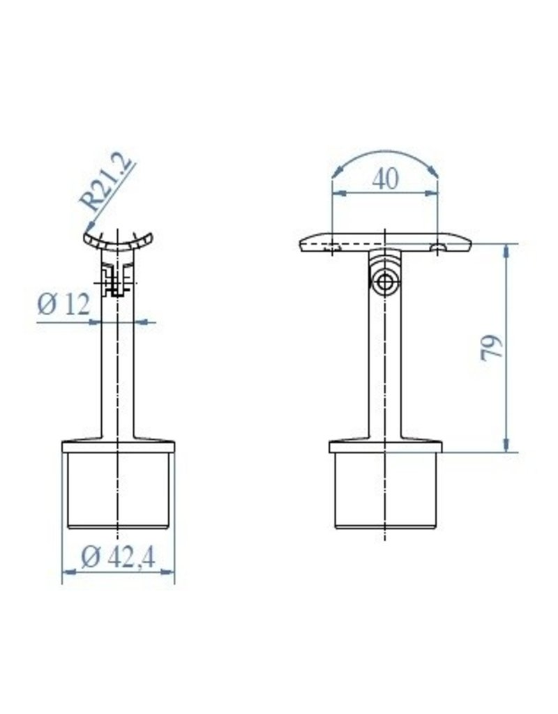 Triebenbacher Leuningdrager regelbaar V2A  42.4mm