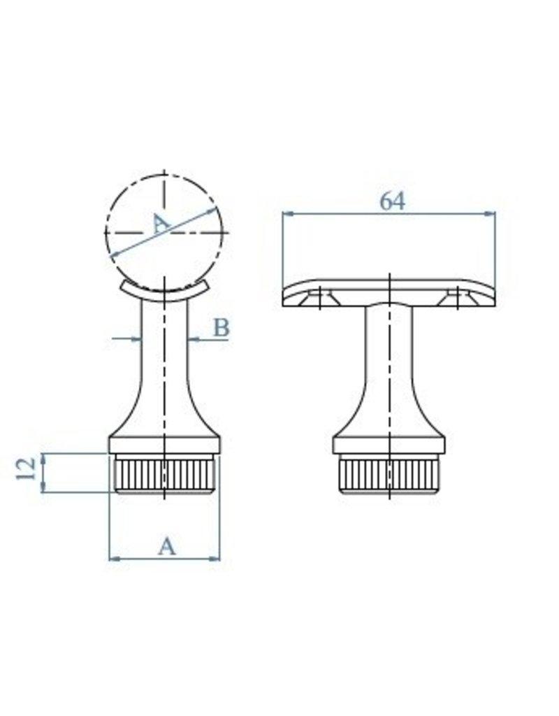 I AM Design Leuningdrager met montageschelp RVS