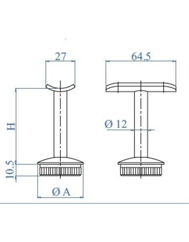 Triebenbacher Leuningdrager met montageschelp V2A voor ronde buis 42.4mm