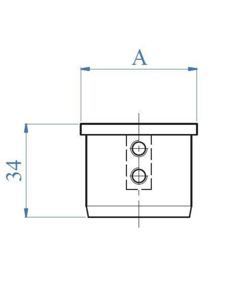 Triebenbacher eindkap geborsteld V2A voor buis 42.4x1.5mm (77 800-1)