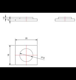 plaque de support V2A 18x20x2mm