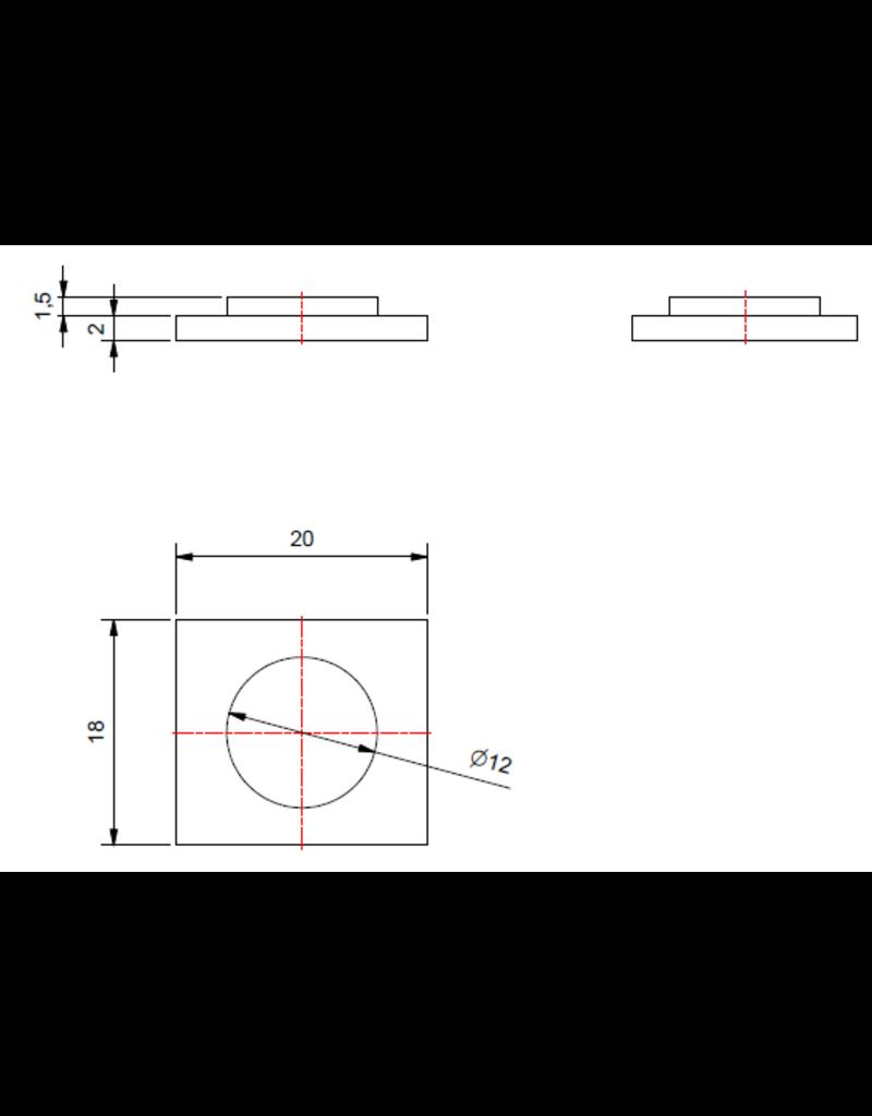 Steunplaatje V2A 18x20x2mm