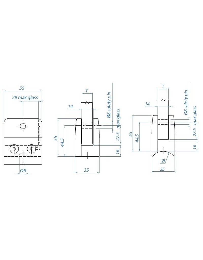 Triebenbacher glasklem V2A model 15 - 55x55x35mm voor glas 8 - 12.76mm